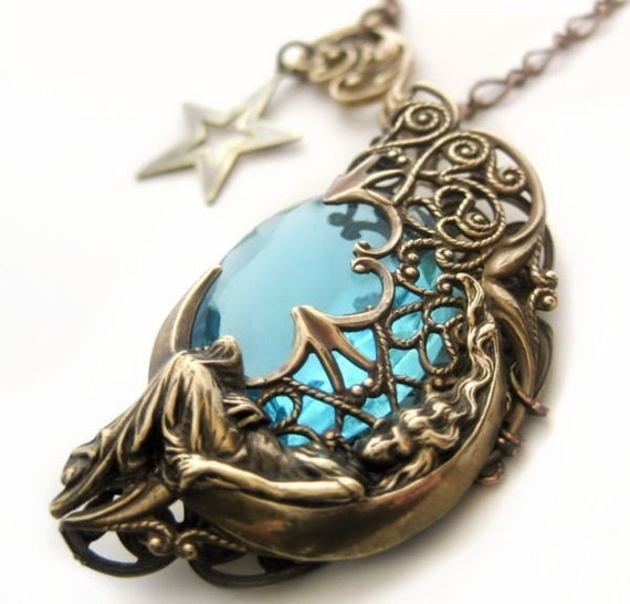 Fligree Necklace, Blue Moon Goddess with star charm