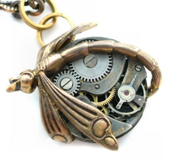 SteamPunk Movement - Clockwork Dragonfly Jewelry Art Necklace by Vintage Filigree Jewels