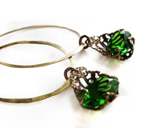 Hammered hoop earrings, dangle earrings with Victorian style filigree drops encasing green vintage glass jewels