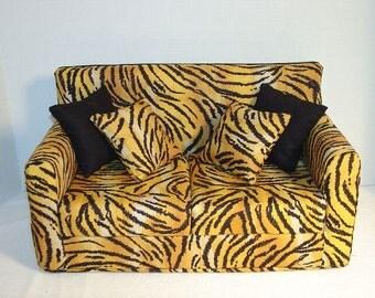18 Inch Doll Furniture - Tiger Print Doll Sofa - Modern - Handmade