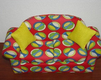Doll Sofa in Red with Whirlpool Circles for Blythe - Barbie - 11 1/2 inch dolls