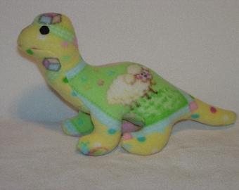 Plush Dinosaur Nursery Print  Green Yellow