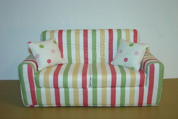 Barbie Doll Sofa - Stripes fits Blythe and other 11 1/2 Inch dolls