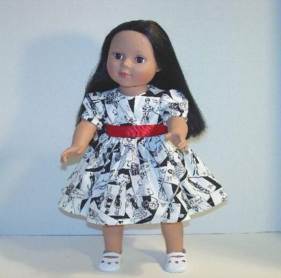 Black-White Doll Dress  fits 18 inch dolls