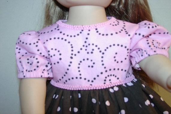 Doll Dress Brown Polka Dots Pink Swirl fits 18 inch  Dolls