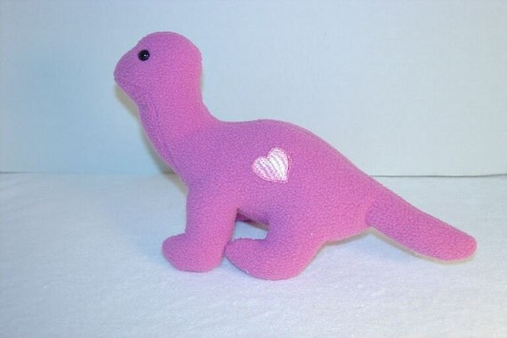 Pink  Brontosaurus Dinosaur Plush Heart