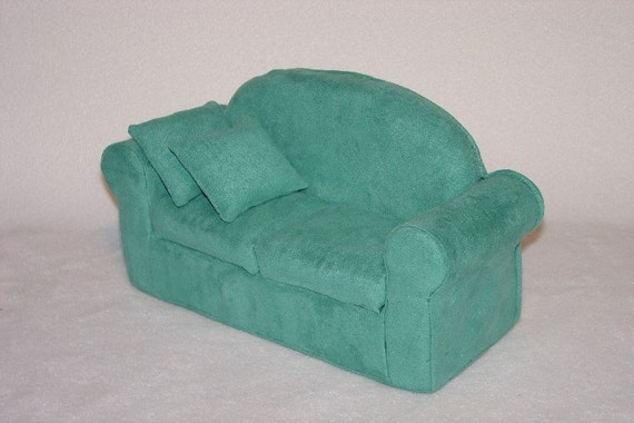 Jade Green Suede Doll Sofa fits Blythe, Pullip and other 11 1\/2 inch dolls