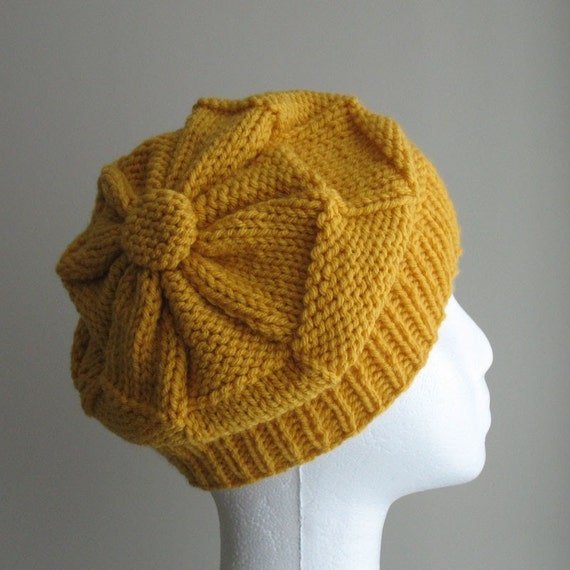 Knitted beret style hat in yellow , Christmas in July sale