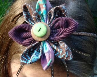 Garden Beauty  Brown Glitter Headband with Purple and Blue Petal