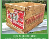 Authentic Vintage Wood CAPE COD CRANBERRIES Crate with Original Label and Graphics