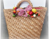 Vintage Wicker Tote -  Gingham Ribbon Millinery Fruits and a Red Polka Dot Lining - TOO CUTE