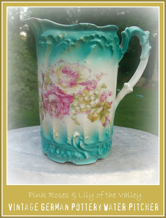 Stunning Antique German Water Pitcher - Turquoise with Pink Rose & Lily of the Valley