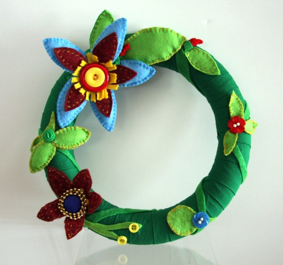 SPECIAL ORDER reserved for Victoria- All others do not buy! Spring Green Wreath With Felt, Buttons, Bead Flowers