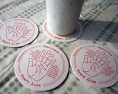 letterpress coasters palmistry set of 4