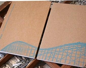 letterpress notebook rollercoaster