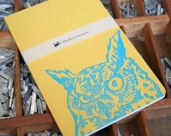 letterpress Owl notebook