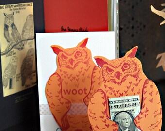 letterpress OWL card die cut woot