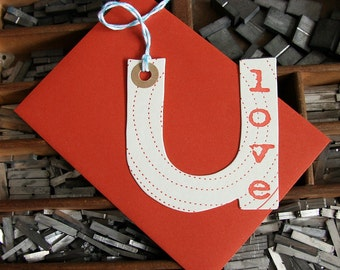 letterpress love u card die cut