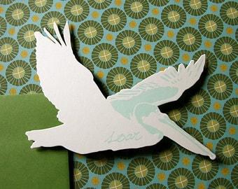 letterpress pelican card die cut