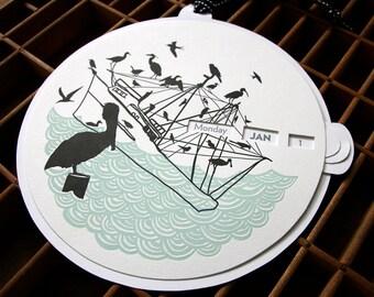 letterpress bird silhouette calendar perpetual