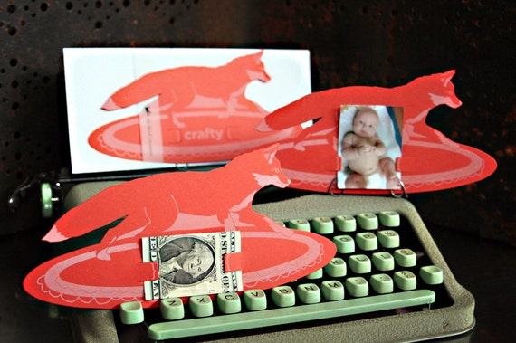 crafty FOX diecut letterpress card