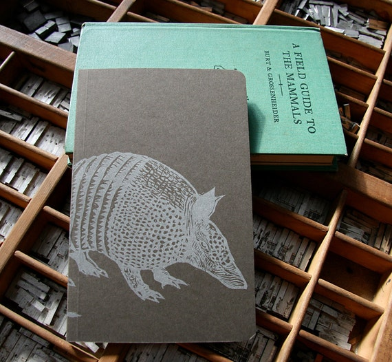 letterpress notebook Armadillo recycled