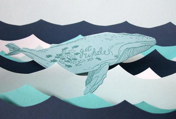 letterpress Get Whale card