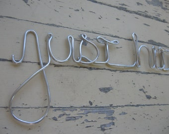 Wedding Sign Just Hitched Metal Wire Sign