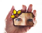 Stained Glass Mirror - Yellow Copper Flower
