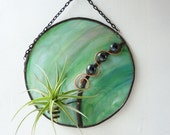 Stained glass Panel Air Plant Holder- Redondo Verde