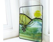 Stained Glass Panel Air Plant Holder -Chartreuse and Green