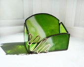 Stained Glass Business Card Holder - Green Flash 2