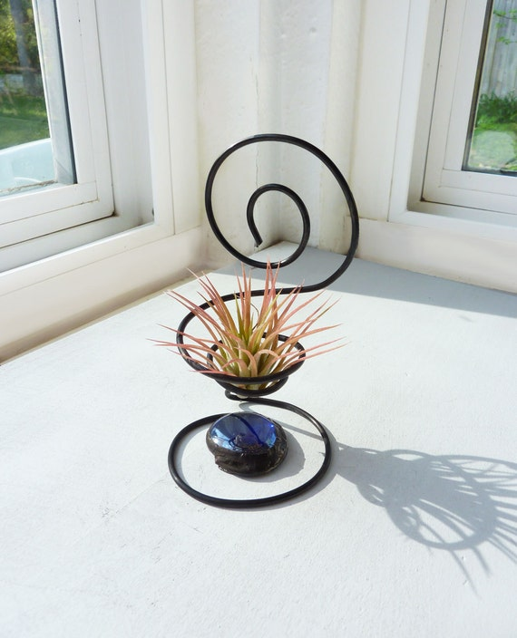 Wire Chair Air Plant Holder with Blue Glass Bead