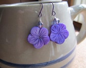 Ultra-Violet, Purple Mother of Pearl  Earrings , Carved Hibiscus Flower, Niobium Hypo Allergenic Ear Wires