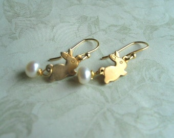 Bunny  Earrings 14k Gold Filled Ear Wires or 14k gold filled posts  with Vintage Brass bunnies
