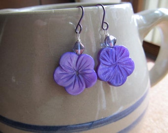 Purple Mother of Pearl  Earrings Carved Hibiscus Flower with Niobium Hypo Allergenic Ear Wires