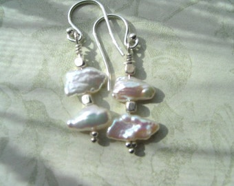 Keishi Pearl Earrings with Hills Tribe Sterling Silver Ear Wires