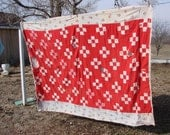 SALE SALE SALE Vintage Red and White Patchwork Cutter Quilt Repurposing Altered Art