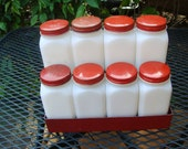 Vintage 1940s Milkglass with Red Trim and Rack Kitchen Spice Jars Set