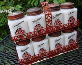 Vintage 1940s Milkglass Tipp City Spice Set in Red Metal Rack Red Black Flower Baskets
