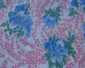 Vintage Blue and Pink Floral Feed Sack Feedsack Rural Americana Floral Fabric