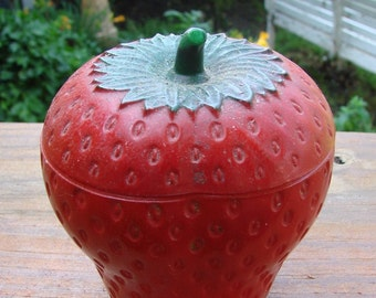 Vintage LUSCIOUS Red Strawberry Strawberries Milkglass Painted Jam Jar Jelly