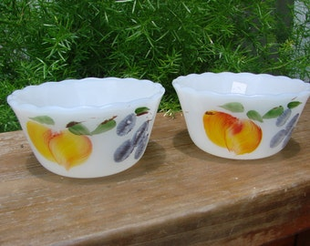 2 Vintage Small Fire King Milkglass Bowls with Hand Painted Fruit