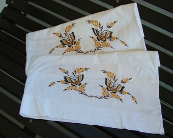 Vintage Hand Embroidery Pillowcases with Butterfly Butterflies