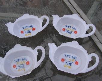 4 Vintage 1960s Era Little Plastic Tea Pot Tea Bag Holders