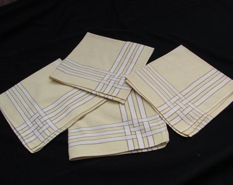 4 Vintage Butter Yellow Windowpane Napkins