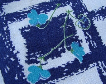 Vintage Navy Blue Floral Lattice Feedsack Feed Sack Fabric Still A Sack