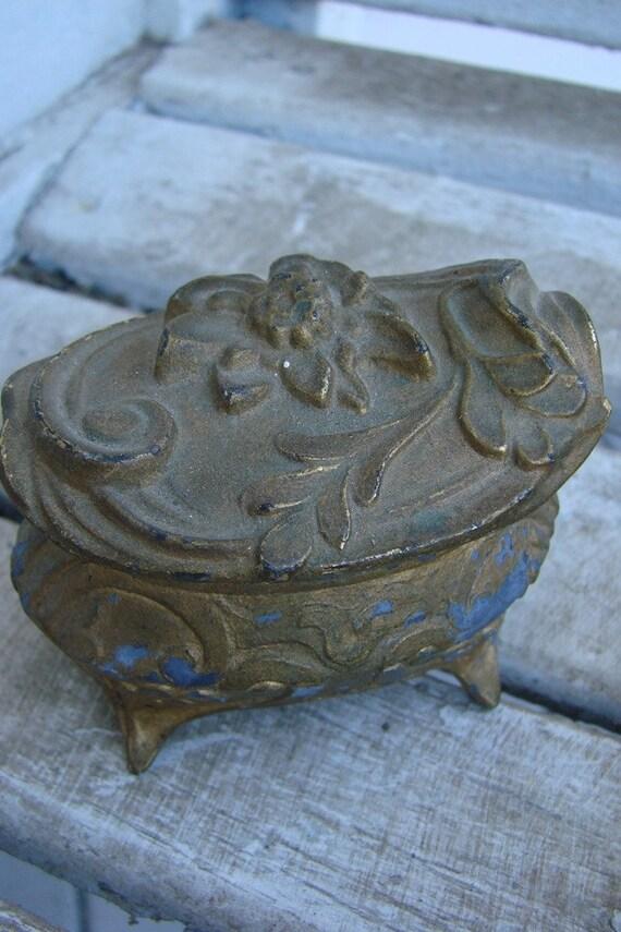 Vintage  ART NOUVEAU METAL Jewelry Casket or Box with Flowers