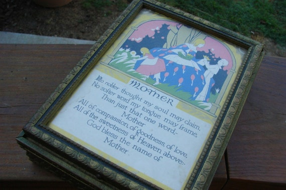 Vintage 1940s Mother Motto Poem Picture Jewelry or Glove Box with Mirror