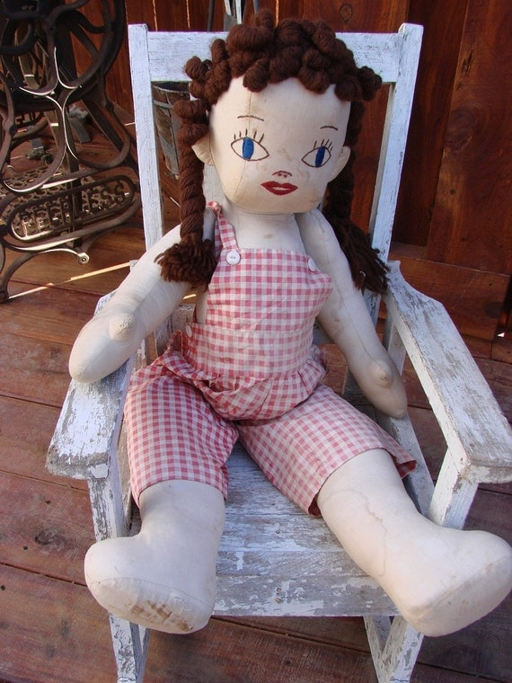 Vintage Well Loved Handmade RAG Doll with RED GINGHAM Outfit Hand Embroidery Features